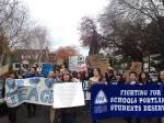 Students march around the school